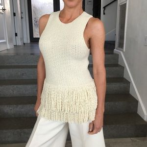 CÉLINE Modele Depose wool fringe sleeveless top